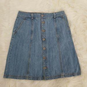Eddie Bauer Jean Skirt size 8 Button Front A-line